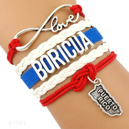 Wholesale Christmas Wrapping Drop Shipping - (10 Pieces Lot)Infinity Love Boricua Puerto Rico Charm Leather Wrap Bracelets For Women Men Gifts Jewelry Drop Shipping