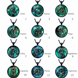 Wholesale Steel Time Jewelry - High quality Twelve Seasons Time Gemstone Glass Necklace Pendant Jewelry WFN357 (with chain) mix order 20 pieces a lot