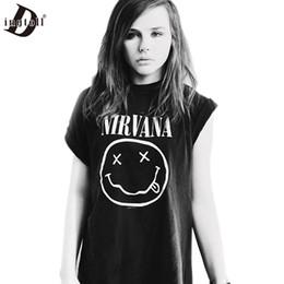 Wholesale Nirvana Top - Wholesale-Dingtoll 2016 New Tumblr Tops Static Cartoon Funny NIRVANA T shirt Harajuku White Black Tee Shirt Blusas Mujer Femme WMT208