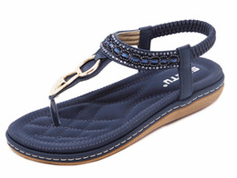 Wholesale Beaded Flip Flop Slippers - Blue Women's Flats Sandals Bohemia Gemstone Beaded Female Flip Flops Slippers Shoes Plus Big Size 35-41