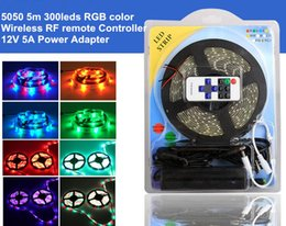 Wholesale Led Christmas Lights Power Adapter - 5050 RGB LED Strip 5m 300 leds light +12v5a Power adapter +Wireless RF remote Controller for decoration Home for decoration Christmas party