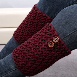 Wholesale Boot Socks Warm - Wholesale- Stretchy Fashionable Winter Warming Women Solid Color 17 cm Knitted Hollow Out Twill Leg Warmers Socks Boot Cover Calcetines