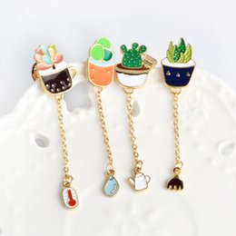 Wholesale Plastic Jackets - Wholesale- Cartoon Cactus Potted Plant Thermometer Water Kettle Rake Metal Brooch Pins Chain Button Pin Denim Jacket Pin Badge Gift Jewelry
