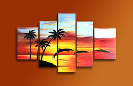 Wholesale Hand Made Decoration Pieces - Dancing Dolphin Painting on Canvas 100% Hand Made Sunrise Seascape Oil Painting 5 Pieces Canvas Art Wall Decoration