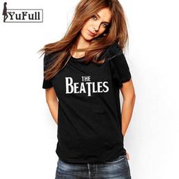 Wholesale Beatles Clothes - Wholesale- The Beatles Summer 2016 T Shirt Women Casual Fashion Punk Rock Black Top Tee Letter Print Plus Size Clothing Poleras De Mujer