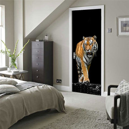 Wholesale Nursery Room Posters - Ferocious Tiger Wall Stickers DIY Mural Bedroom Home Decor Poster PVC Waterproof Door Sticker Imitation 3D Decal