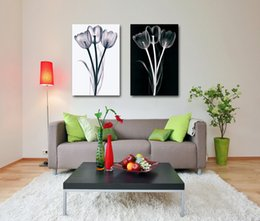 Wholesale Transparent Flower Wall Art - 2 Piece Black And White Canvas Printings Transparent Flowers Wall Painting Quadros Prints Wall Art For Living Room Home Decor