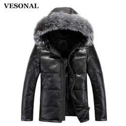 Wholesale Fox Fur Leather Jacket Men - Wholesale- VESONAL Down Jacket Men Leather Jacket Male Down Coat Jackets Windproof Warm Fox Fur Collar NEW 2017 Autum Winter