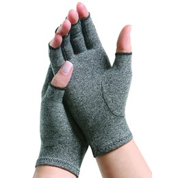 Wholesale Anti Magnetic - Sanbo Magnetic Therapy Gloves Health Comfortable Ventilation Half Finger Anti Arthritis Compression Gloves 1 pairs