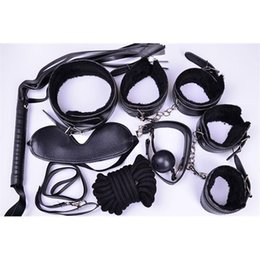 Wholesale Whipped Pink Bdsm - Bondage BDSM Kits Sets 7pc set Restraints Special Fetish Bondage Sex toys Sex Products for Couples Pink Black Red Purple