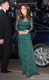 Wholesale Evening Dresses Kate Middleton - Custom Made Kate Middleton Long Sleeve Evening Dresses 2017 Elegant Dark Green Full Lace