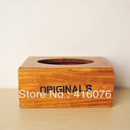 Wholesale Wooden Tissue Box Holder - Wholesale- Vintage Style Wooden Tissue Box Desktop Napkin Holder Eco-friendly Vintage Style Creative Home Decoration S2001