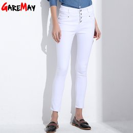 Wholesale Korean Fashion Pants For Women - Women's Jeans 2017 korean femme femininas white denim high waist Pencil skinny pants Jeans trousers Clothing For Women Female