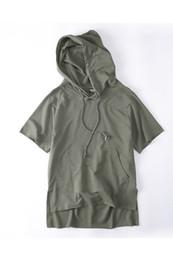 Wholesale Men Blank Sweatshirts - Wholesale- Off Shoulder Blank Color Mens Sweatshirts and Hoodies Short Sleeve Loose Style Solid Color Hip Hop Hoodie Black ,Green