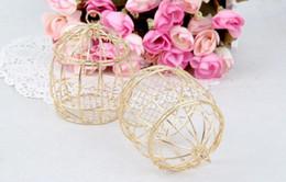 Wholesale Wholesale Tin Boxes For Weddings - Hot Gold Wedding Favor Box European creative romantic wrought iron birdcage wedding candy box tin box for Wedding Favors.