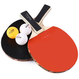 Wholesale Table Tennis Racket Long Pimples - Table Tennis Ping Pong Racket Two Long Handle Bat Paddle Three 3 Balls indoor sports Ping Pong Blade