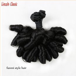 Wholesale Natural Curl Indian Remy Hair - Perfect Bundle Unprocessed 7a Indian Virgin Aunty Funmi Hair 100% Human Hair Weave Aunty Funmi Bouncy Curls Extensions Hair #1B color