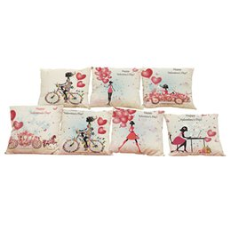 Wholesale Office Balloon - Love Balloon Pattern Linen Cushion Cover Home Office Sofa Square Pillow Case Decorative Cushion Covers Pillowcases Without Insert(18*18)