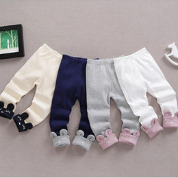 Wholesale Blue Trousers For Girls - 2017 New Children Casual Cartoon Rabbit Roll Pants for Kids Trousers Sweatpants Spring Autumn Comfort Pants Boy's Girl's Leggings