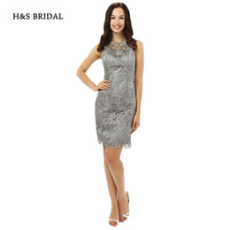 Wholesale Mother S Evening Dresses - H&S BRIDAL 2017 New Arrival Short Grey Lace Formal Evening Dresses Women Knee Length Mother Of The Bride Dresses sh0093