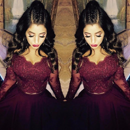 Wholesale Dress Low Back Long Sleeves - Burgundy Lace Long Sleeve Formal Evening Dresses V Neck Crystal High Low Arabic Evening Gowns Sleeves Two Piece Prom Dress Party Gown