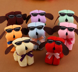 Wholesale Serviette Wedding - Serviette De Plage Microfiber Towel 3pcs   Lot Hot New Dog Cake Shape + Sun Glasses Towel Cotton Washcloth Wedding Gifts K531tr