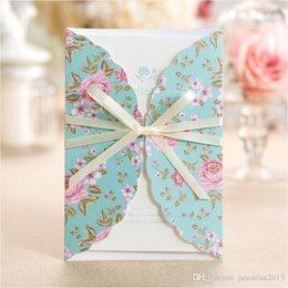 Wholesale Invitation Blue Flower - 50pcs Blue flower wedding invitation cards with envelope party invitations wedding supplies Weddings & Events