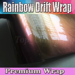 Wholesale Rainbow Rolls - 2017 Chameleon Gloss Rainbow Drift Car Wrap with air bubble free   release Covering styling Flip Flop shift foil 1.52x20m 45x67ft roll