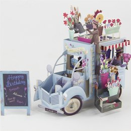 Papier romantique 3D Laser Pop Up cartes de voeux cartes d'anniversaire à la main cartes postales Wishes 5014 étiquette de couple de fleurs Kraft ? partir de fabricateur