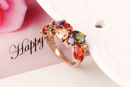 Wholesale Gemstones Ring Designs - Luxury Charm Beautiful Square Zircon Rings 18k Gold Color For Women Design Vintage Gemstone Ring Statement Jewelry Wholesale Free Shipping