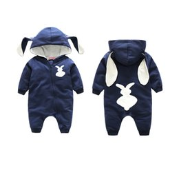 Wholesale Hooded Bodysuits - Newborn infant baby toddler rompers hooded rabbit jumpsuits animals boys girls bodysuits children cotton kids clothing long sleeve pajamas