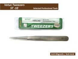 Wholesale Precision Tips - Wholesale-VETUS TWEEZER ST-10 Fine Straight Tip High Quality Stainless Steel Super Hard Anti-magnetic and Anti-Acid Precision Tweezers