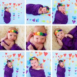 Wholesale Rainbow Rose Flower - Newborn Baby Headbands Rose Flowers Elastic Satin Headbands Girls Infant Hairbands Kids Children Hair Accessories Rainbow Head Bands KHA178