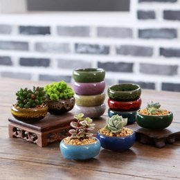 Wholesale Chinese Style Flower Pot - 2017 Hot-selling decorative gardening succulents pots ceramic kiln creative gardening ornaments in various colors free shipping