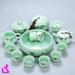 Wholesale Tea Set Suit - 003 Longquan porcelain tea set of pure handmade hand-painted Kung Fu suit lotus teapot ceramic tea cup cup