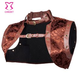 Wholesale Steampunk Costume Accessories - Brown Sexy Brocade and Faux Leather Steampunk Corset Women Jacket 2016 Plus Size Gothic Clothing Burlesque Costume Accessories