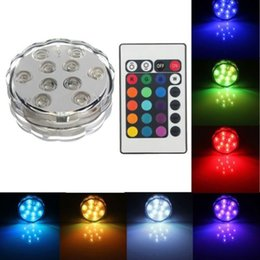 Wholesale Led Candle Light Color - 10 SMD5050 LED Multi Color Submersible Waterproof Wedding Party Vase Base Light With 24 Keys Remote Control For Hookah Shisha
