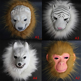 Wholesale Realistic Animal Costumes - Wholesale-Realistic Fur Mane Latex Mask Creepy Animal Tiger Lion Monkey Wolf Partern Full Face Cosplay Halloween Costume VDY45 P69