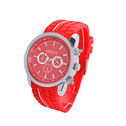 Wholesale Geneva Watches Silicone Band - 2017 Hot Geneva Watches Students Silicone Band Sport Geneva Quartz Pointer Watches 6 colors Big Dial Racing Relogio Masculino