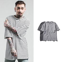 Wholesale European T Shirts Men - Large Size Loose Men's T-shirt New Fashion Striped Tee Shirt European Streetwear Hip Hop T-shirts Men Brand Tees Tops Plus Size MT008