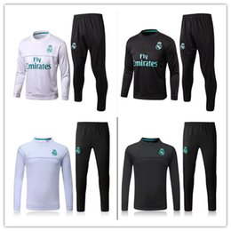 Wholesale Sweater Pant Sets - top quality 17 18 real madrid tracksuit home white away black sweater suit long pants 2017 2018 madrid trainning sweater set jacket RONALDO