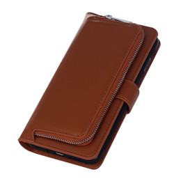 Wholesale Two Wallet Iphone - New for iPhone7 mobile phone sets for Samsung s8 two-in-one multi-function wallet card zipper clamshell plain protection case