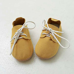 Wholesale Shose Kids - Retail Christmas Gifts Baby Boys Girls Oxford Shose Yellow Lace up Genuine Leather Horse Hair Cow Sole Anti-slip Hard Sole Toddler Kid Shoes