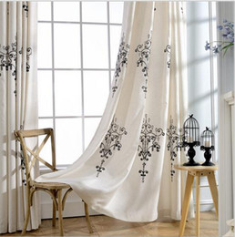 Wholesale Modern Ceiling Lamp Price - Modern simple Crystal lamp embroidered white linen cotton twindow blackout curtain for living room bedroom wholesale fabric price
