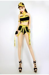 Wholesale Sexy Yellow Leotard - Nightclub bar DS DJ female sexy costumes hip hop jazz DJ dance performance clothing prom party costumes tide tassels stage performance wears