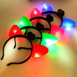 Wholesale cute cat ears halloween - Cat Ears Headband Plastic LED Light Up Head Hoop Glowing In The Dark Halloween Decoration Hair Band Cute 1 39by B R