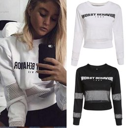 Wholesale Thin Sweatshirts For Women - New Desinger sweatshirt for Women clothing Pullover Fishnet Patchwork Cropped Top Slim O-Neck Long Sleeve Letter Print For Spring Autumn