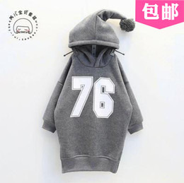 Wholesale Baby Boy Grey Jacket - Wholesale- New Kids Boys Girls Letters 76 Hoodies Costume Children Hooded Sweatershirt Baby Jacket Coat Outerwear Grey Long Sweatshirts