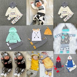 Wholesale Boys Winter Outfits - Baby clothes set babies suit toddler boy girls clothing sets Flower stripes shirt pants suit infant Outfits boutique kids clothes 929