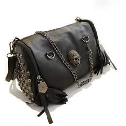 Wholesale Ladies Handbag Cooler - 2017 Unique Black Bags Cool Lady Rivets Vintage Shoulder Bag Casual Women Skull Handbags Fashion Tassel Gothic Messenger Bags H143